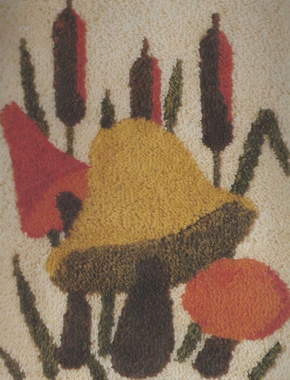 "Mushroom & Cattails Latch Hook Rug Kit by Caron 20x27"" K3194 Vintage Retro 1970s Style"