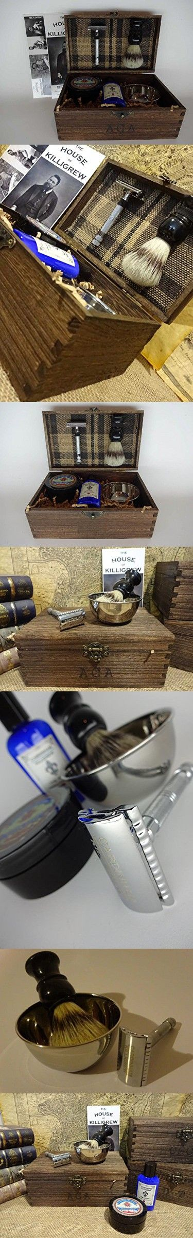 Gentlemen's Shaving Kit - Custom Shave Kit and Shave Set (Tartan Plaid, Dark Oak) interesting mens christmas gifts unique mens gift Mens anniversary gifts for men