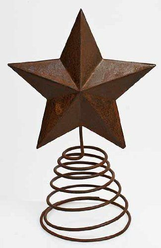 "Rusty Tin Star Tree Topper with Coil Spring Base - Total Height 9"" - Star 5"" x 5"" for only $6.99"