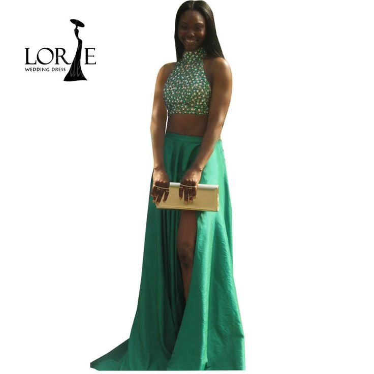 Emerald Green Two Piece Prom Dresses with Rhinestones A Line Graduation Birthday Homecoming Evening gowns vestidos de baile