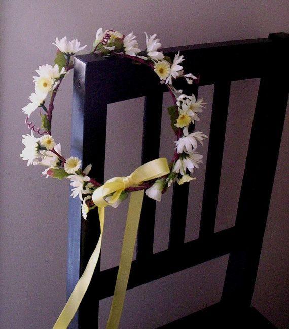 Hippie Daisy Hairwreath daisy chain -Grace- bridal headpiece yellow Flower Crown wildflower EDC, wedding hair accessories Woodstock on Etsy, $38.00