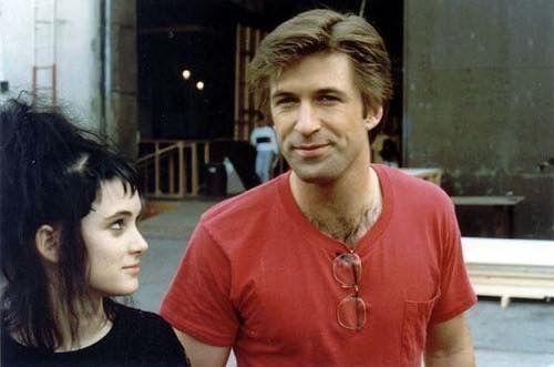 Alec Baldwin and Winona Ryder on the set of Beetlejuice 1988
