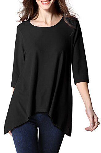 eb8b32dbc0e Girl2Queen Summer Women's 3/4 Sleeve Tunic Tops Plus Size, Long Tunic  Shirts Blouse