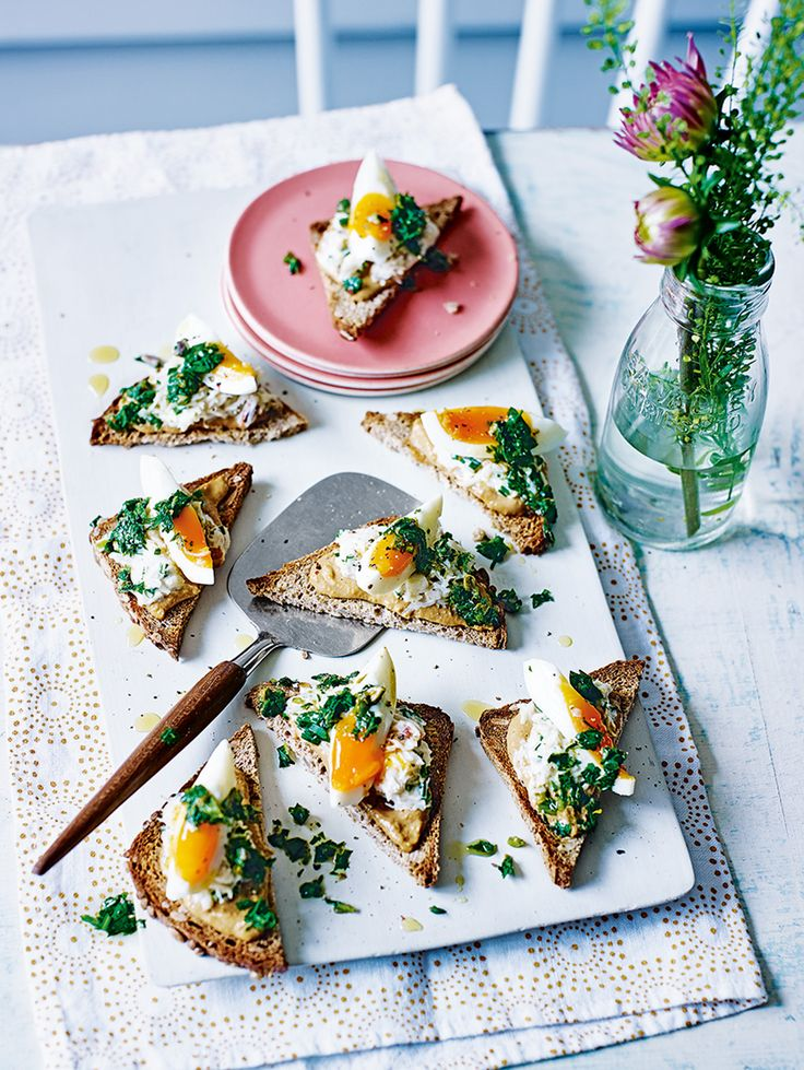 Creamy crab and a fresh herby salsa take egg on toast to a new level in Simon Hulstone's recipe for a fancy, but easy, dinner party starter.