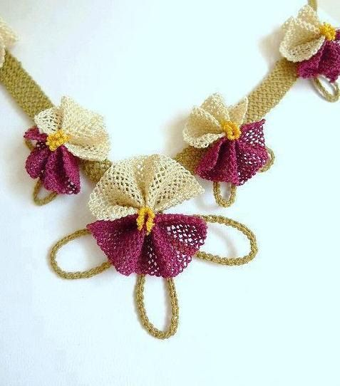 Purple and Creme Bow Necklace by needlecrochet on Etsy, $60.00