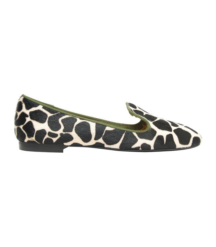 New Smoking Slippers at #ShopBAZAAR – Avec Moderation Mazzarina Giraffe Print Pony Hair Flat