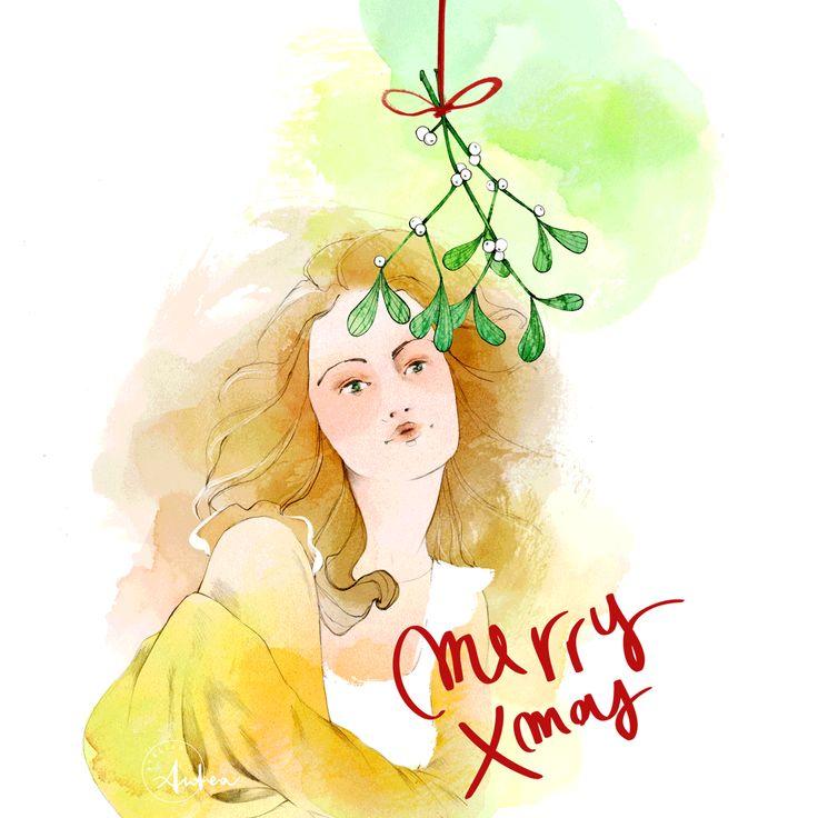 Under the mistletoe - Illustrated GIF  by Camilla Locatelli