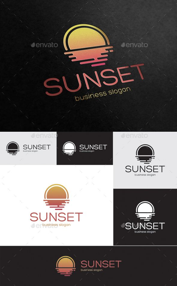 Sunset  — EPS Template #line #travel • Download ➝ https://graphicriver.net/item/sunset/18362382?ref=pxcr