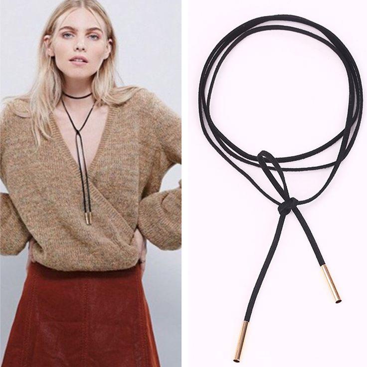 N824 2016 Новый Черный Замши Кожаный Шнур Ожерелье Длинный Лук Choker Заявление Ожерелья для Женщин Колье Bijoux Ожерелье