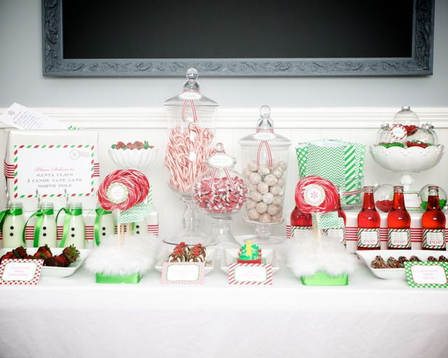 Christmas Dessert buffet table.  Lidded glass jars of different heights are great table prop to have on hand.