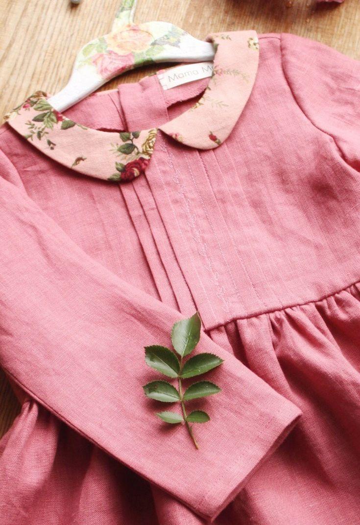 359aa1d98 Little Girls Vintage Style Handmade Linen Dress   MamaMaraby on Etsy ...