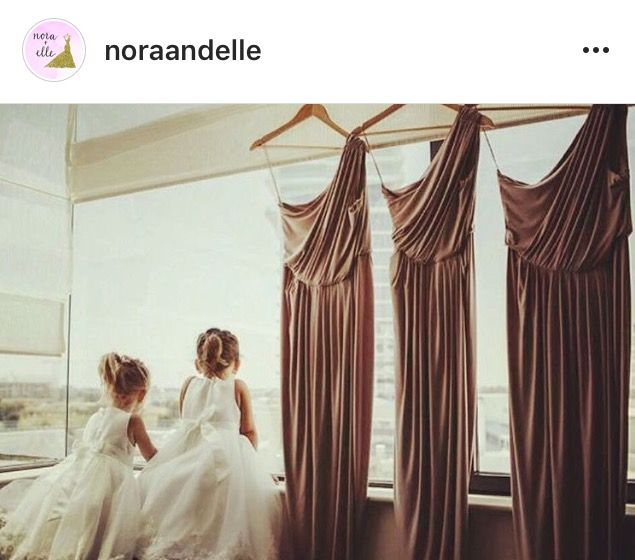 Rosey Latte Pia Gladys Perey Gowns. Ready for a beautiful Bridal party. Available at Nora and Elle.