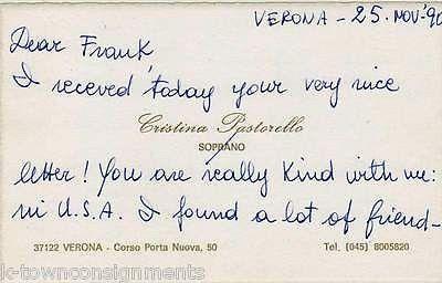 CRISTINA PASTORELLO ITALIAN OPERA SOPRANO SINGER AUTOGRAPH SIGNED NOTE CARD