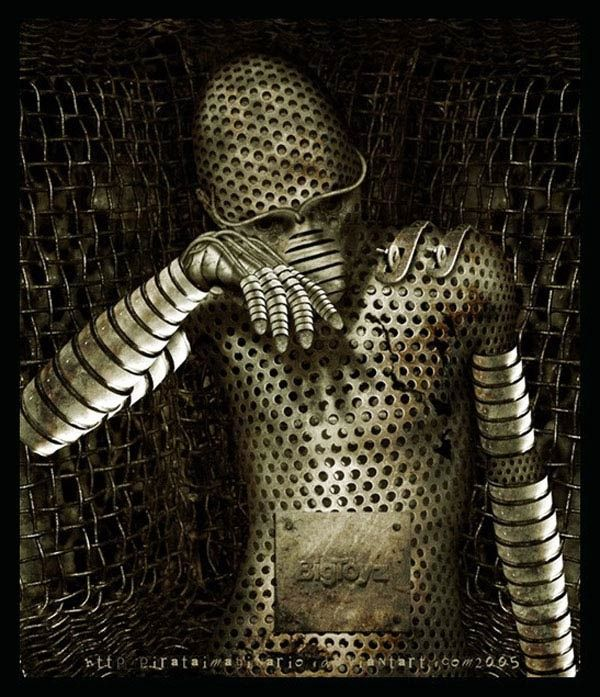 A suit of armor, reminiscent of a thimble! #art