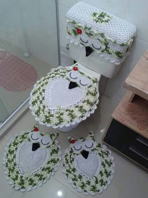 Crocheted Bathroom Set Home Decor Pinterest Bathroom