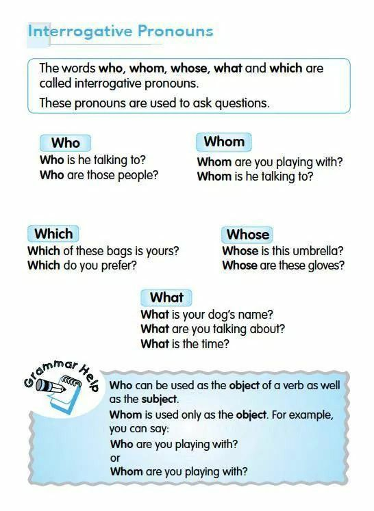 Interrogative Pronouns | English Activities | Pinterest