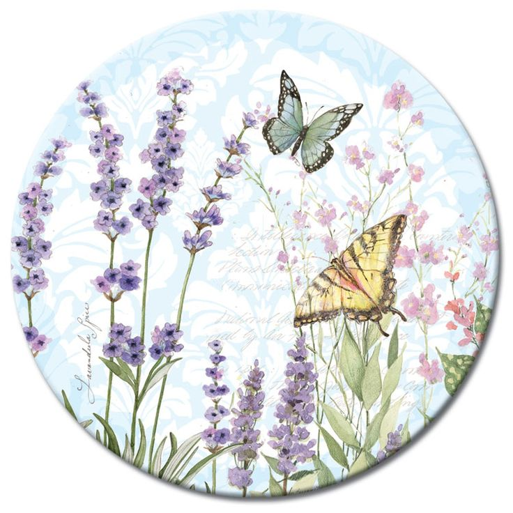 "Herb Garden Glass Lazy Susan 13"" with Butterflies"