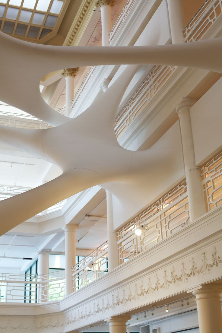 Zaha Hadid's modernist insertion in the atrium of the historic Moore Building