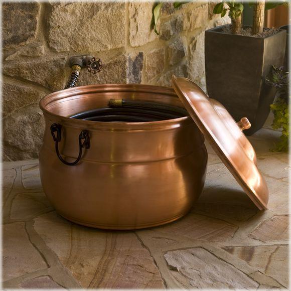 CobraCo® Cauldron Solid Copper Hose Holder And Lid Set, Model #BHHCLDCOP C