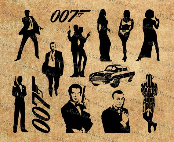 Digital image 007 inspired, spy movie, james bond, silhouette, vector, clipart, instant download