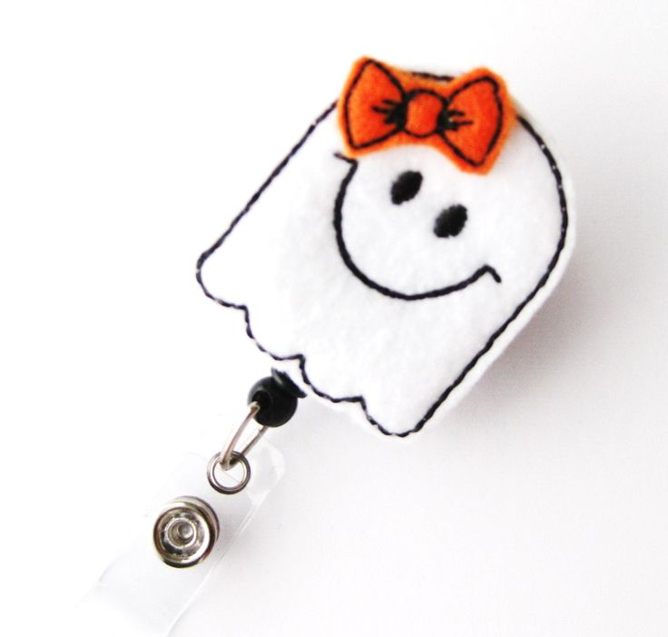 Friendly Ghost - Halloween Badge Holders - Cute Badge Reels - Unique Retractable ID Badge Holder - Felt Badge Reel - RN Badge - BadgeBlooms. $6.00, via Etsy.