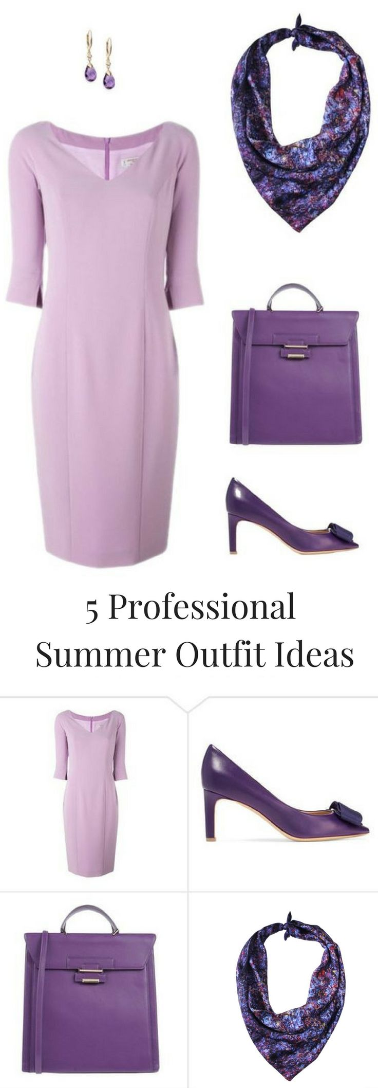 Lavender and Lilac - beautiful shades of purple in this summer professional outfit idea featuring Alberto Biani Lilac Dress and Aithne Vibrations of Blue Silk Scarf. Click through to the blog post for more summer professional style ideas.