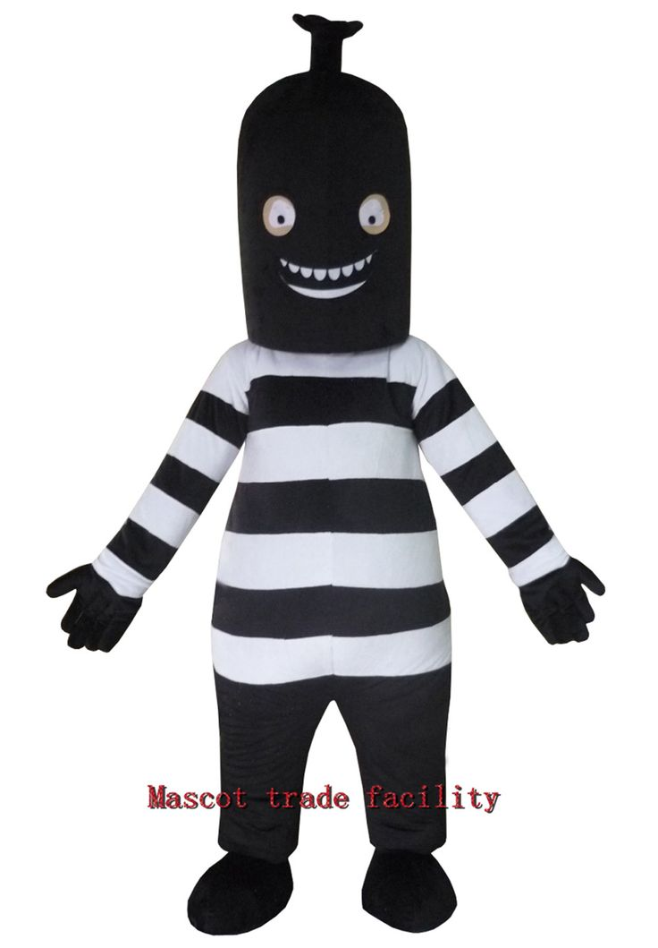 >> Click to Buy << Black Monster Mascot Costume/Adult Size Can Be Customized Black Cylinder Head Of Black And White Stripes Belly Mascot Costume #Affiliate