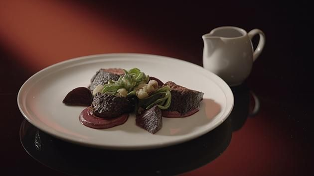 Spiced Kangaroo with Beetroot & Walnut Purée and Weed Salad