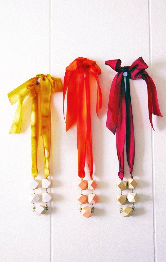 Geometric Beaded Silk Ribbon Necklace in Coral & Orange.. $32.50, via Etsy.