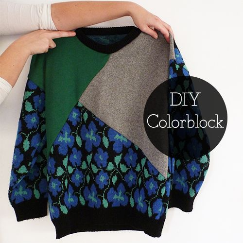 Recycle old jumpers and create your own Colorblock