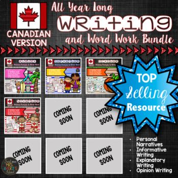 Many asked, and I listened! I have had countless teachers request that I take my top selling writing resource and offer it in a Canadian version! I'm so excited to say I have collaborated with a teacher from Canada to make that happen!  If you are seeking a year long writing resource for your students in Canada, I encourage you to click the following link to see what hundreds of other teachers have to say about these NO PREP monthly writing prompts and word work activities!Year Long Writing…