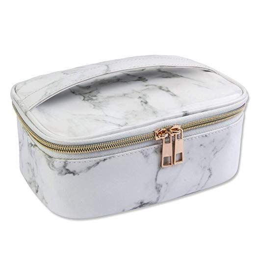 cc4b441a5b0 Amazon.com   MAGEFY Marble Makeup Bag Portable Travel Cosmetic Bag  Organizer Multifunction Case with
