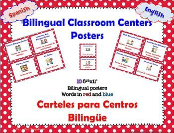 I created these classroom center signs for use in a bilingual or dual language classroom. Organize your classroom with these illustrative center signs. You can print, laminate, cut and post in your centers.  - 10 center signs size 8 1/2 x 11 in.-  All signs have words in English = blue and Spanish = red- Center signs include:math bilingual centersocial studies bilingual centerscience bilingual centerlanguage arts bilingual centerlistening centerpretend & learn centercomputer centerlibrar...