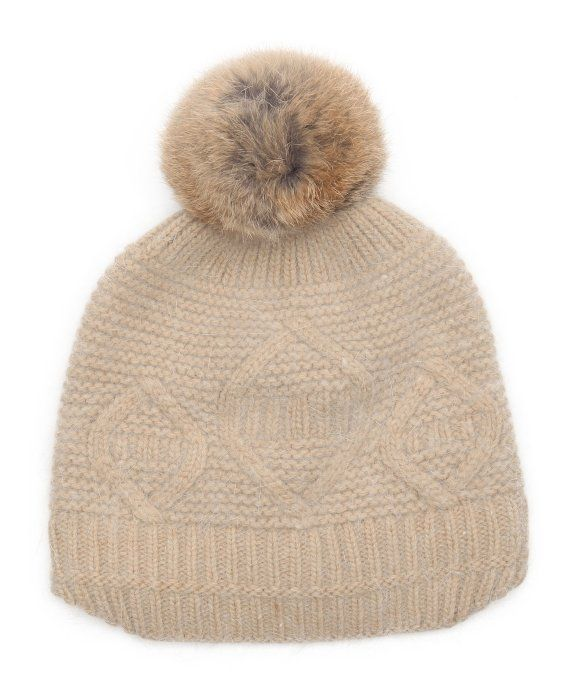 Surell : wheat angora blended rabbit fur detailed pom pom hat : style # 335620201