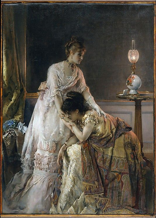 "AFTER THE BALL -   Alfred Stevens, 1874. This painting, also known as ""Confidence,"" is one of several by Stevens to treat the theme of consolation. As in his other works from the 1870s, here the anecdotal content of a letter containing distressing news asserts itself in a glimpse of the life of fashionable Parisian women in their elegant interiors."
