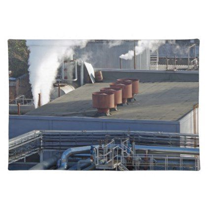 Industrial infrastructure buildings and pipeline placemat - construction business diy customize personalize