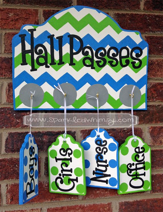 Hall Passes Sign for Classroom Bright Blue/Lime by SparkledWhimsy, $39.00