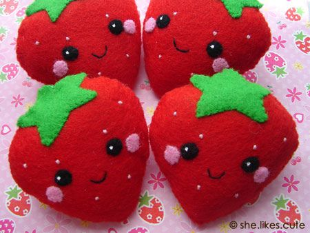 shop update: strawberry softies by she.likes.cute, via Flickr