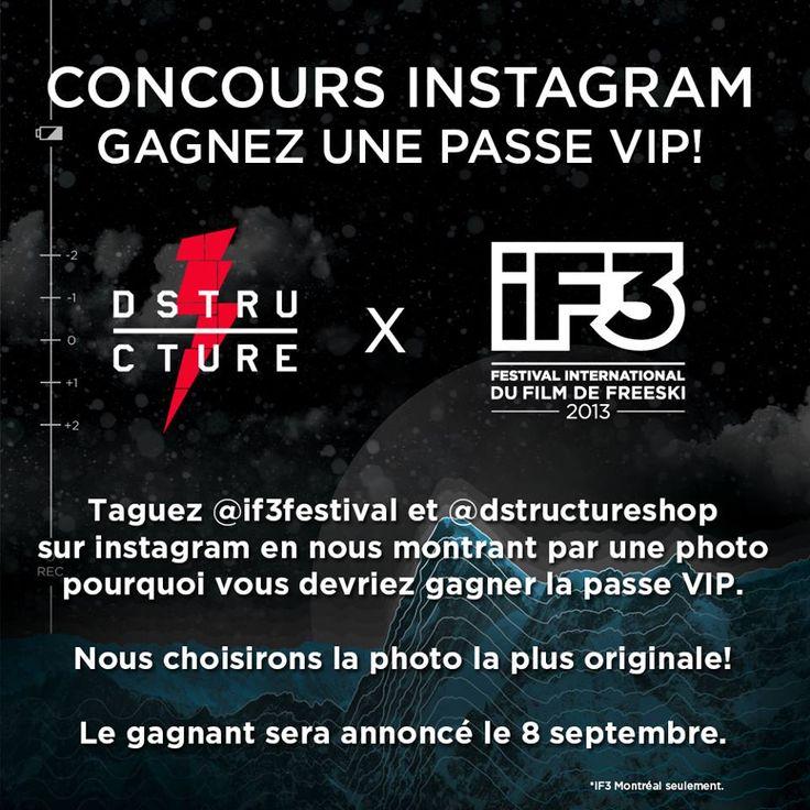 La boutique D-Structure et iF3 vous offre la chance de gagner une passe VIP au iF3 de Montréal! Taguez sur instagram @dstructureshop et @if3festival en nous montrant par une photo, pourquoi vous devriez avoir la passe. La photo la plus originale sera choisie par l'équipe du iF3 et du D-Structure le 8 septembre.
