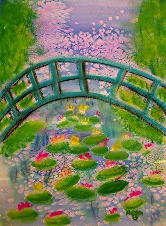 Monet....Japanese Bridge.....looks like watercolor, salt...then soft pastels on top.