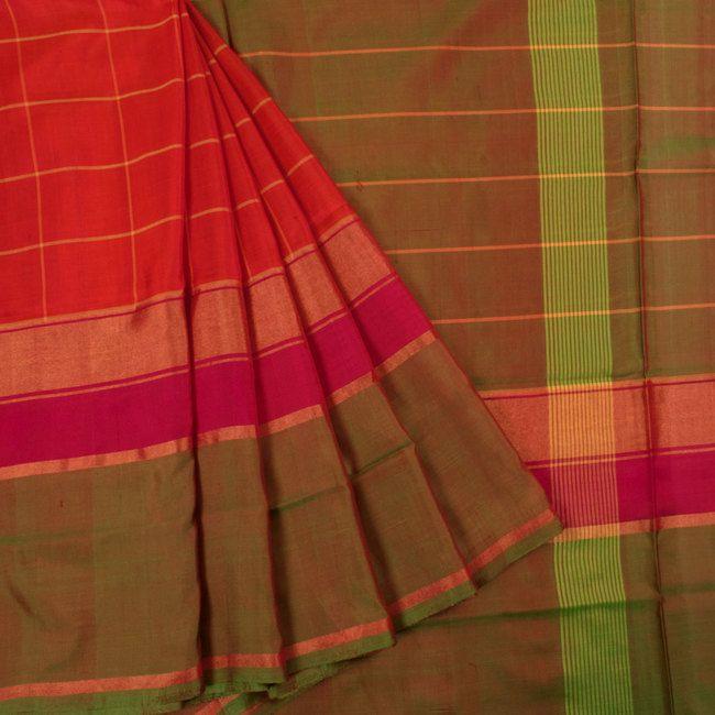 Handwoven Uppada Silk Saree With Checks & Zari Border 10025633 - profile - AVISHYA.COM