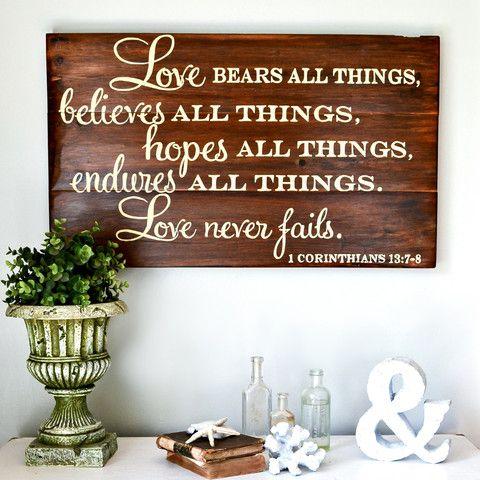 """Love bears all things"" Wood Sign {customizable} - Aimee Weaver Designs"