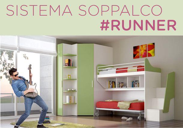 Cameretta Sistema Soppalco #RUNNER 450 Soppalco estraibile | scala contenitore | giroletto con ruotehttp://www.ibcamerette.it/cat_listing.php?c1=72