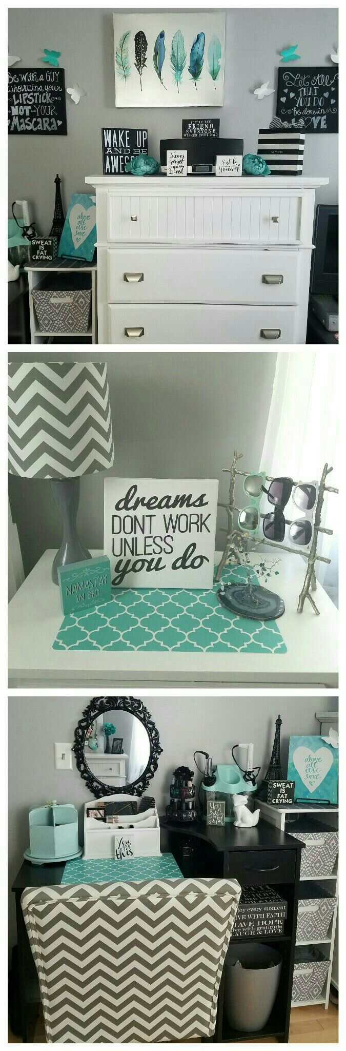 Black and white and turquoise bathroom ideas - Grey And Teal Teen Girl Bedroom Ideas