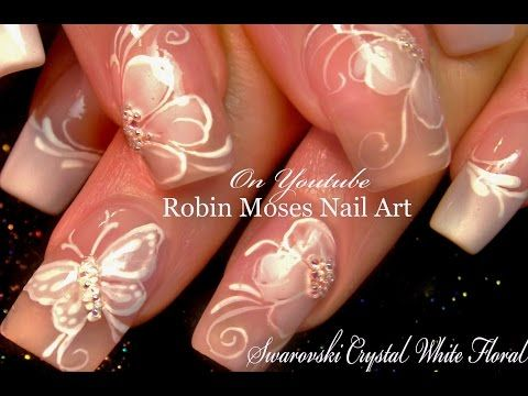 90 best butterfly nail art images on pinterest butterflies white flower nails diy french pink wedding nail art design tutorial youtube prinsesfo Gallery