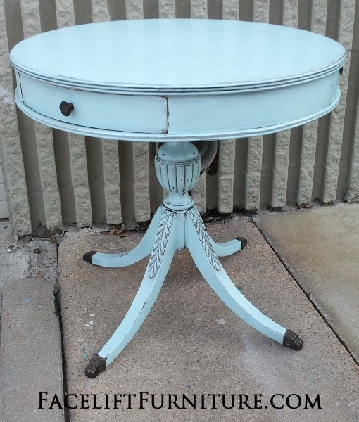 Duncan Phyfe Pedestal Table In Distressed Robinu0027s Egg Blue And Black Glaze.  From Facelift Furnitureu0027s