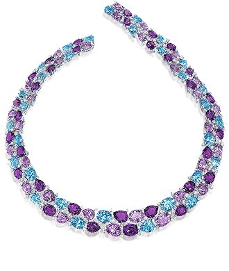 Cellini Aurora Collection Amethyst and blue topaz in oval and pear shapes are set among round brilliant white diamonds, in 18-karat white gold - Cellini Jewelers