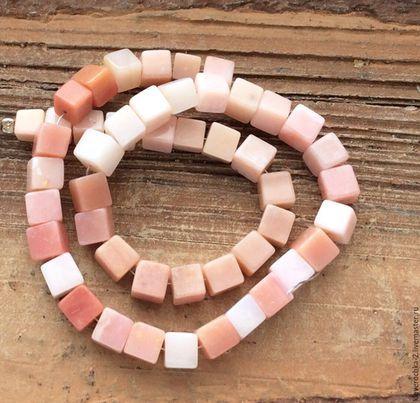 Для украшений ручной работы. Ярмарка Мастеров - ручная работа. Купить Опал розовый 6-7 мм кубик бусины камни для украшений. Handmade.