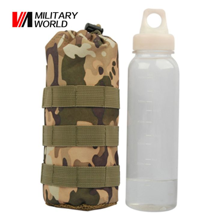 Military World Tactical Molle Open Top Bottle Pouch Travel Water Bottle Pouch Mesh Bottom Hydration Pouch Bag Lightweight