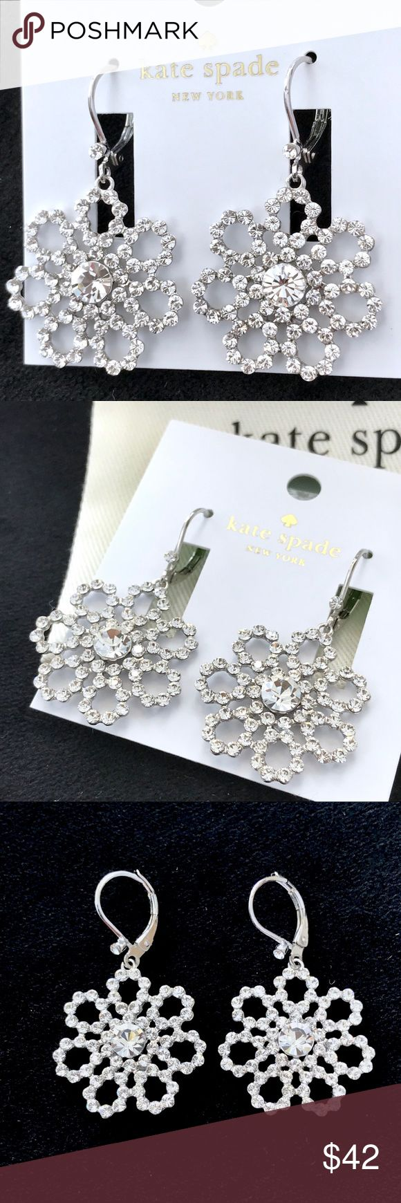 Kate Spade Crystal Lace Leverback Earrings NWT. •Description-this delicate piece features lace-inspired floral shapes rendered in sparkling stones and precious metals, for a look that's romantic but still very of-the-moment. MATERIAL shiny rhodium plated metal with glass stone FEATURES leverback closure style # wbrud483 DETAILS weight:5.66 handcrafted imported. •Authentic. Comes with the dust bag. No Trades. No low ball offers. Price is Firm kate spade Jewelry Earrings